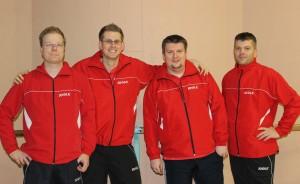 Die Stammkräfte der 1. Mannschaft 202/2013 (v.l.): Stephan Wilhelm, Rico Kattner, Daniel Jakob, Stefan Kölling
